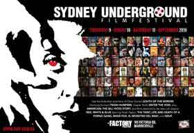 Poster from the Sydney Underground Film Festival featuring film still from Un Chien Andalou