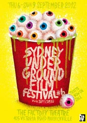 2012 Sydney Underground Film Festival poster with popcorn bucket full of eyeballs