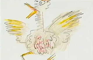 Drawing of a chicken flapping its wings and clucking