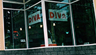Glass windows of DIVA Center in Eugene, Oregon