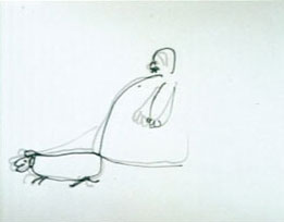Film still from A Man and His Dog Out for Air featuring a drawing of a fat man walking his dog