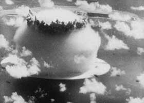 Film still from A Movie featuring an atomic bomb blast from the '50s