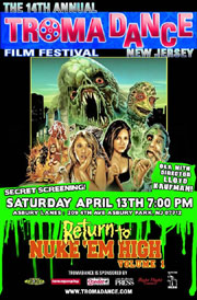 TromaDance poster featuring monsters and girls in Return to Nuke 'Em High Vol. 1