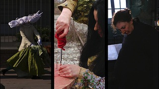 Triple image of a woman with yarn hair dancing, a woman using a screwdriver and a woman thinking