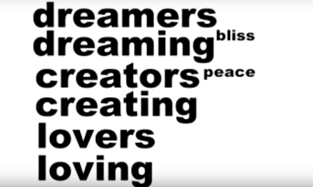 Text about dreamers, creators and lovers